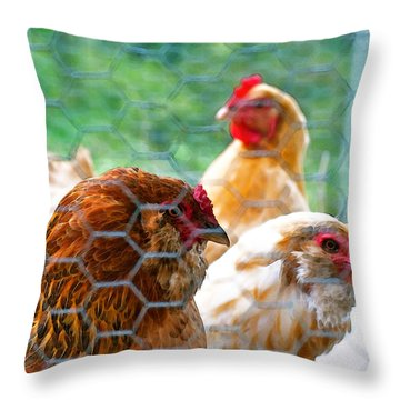 The Chickens Throw Pillow by Gwyn Newcombe