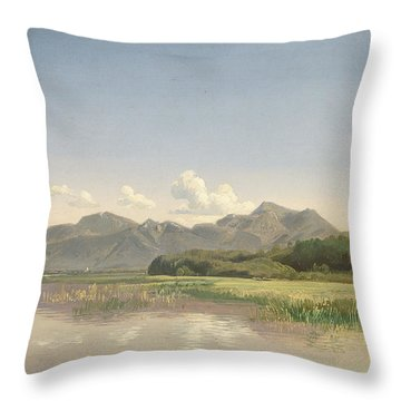 The Chiemsee At Stock Oil On Paper Mounted On Canvas Throw Pillow