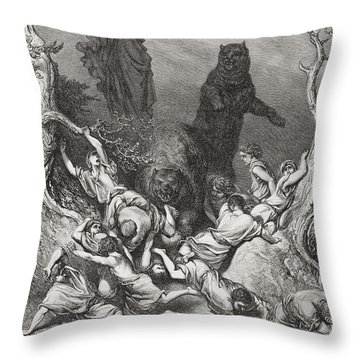 The Children Destroyed By Bears Throw Pillow by Gustave Dore