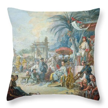 The Chinese Fair, C.1742 Oil On Canvas Throw Pillow
