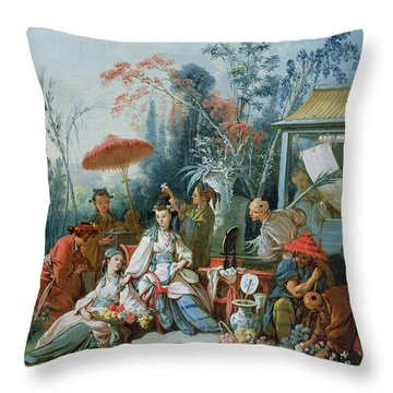 The Chinese Garden, C.1742 Oil On Canvas Throw Pillow