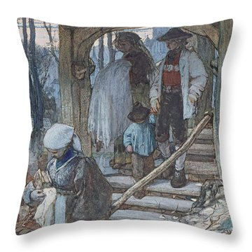 The Christening Gate In Lausanne, C.1861 Throw Pillow by Matthijs Maris
