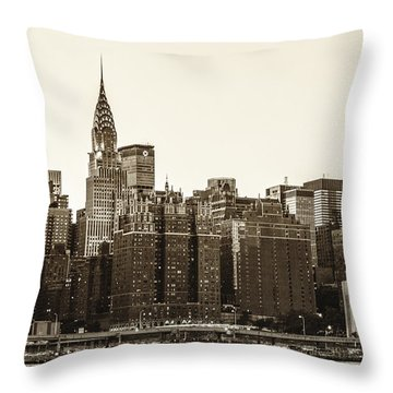 The Chrysler Building And New York City Skyline Throw Pillow by Vivienne Gucwa