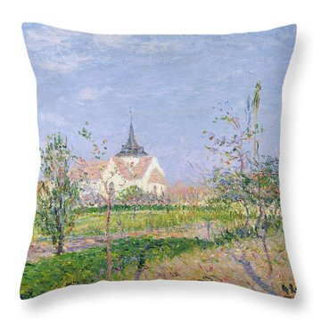 The Church At Vaudreuil Throw Pillow by Gustave Loiseau