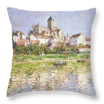 The Church At Vetheuil, 1880 Throw Pillow