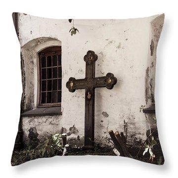 The Church Courtyard Throw Pillow