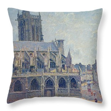 The Church Of St Jacques In Dieppe Throw Pillow by Camille Pissarro