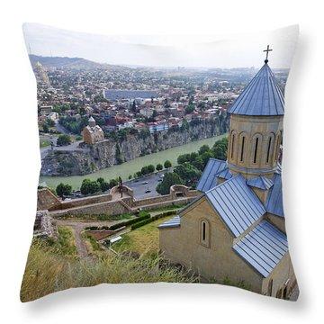 The Church Of St Nicolas Overlooking Tbilisi Georgia Throw Pillow by Robert Preston