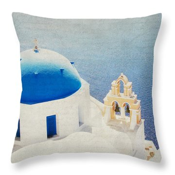 Throw Pillow featuring the photograph The Church - Santorini by Lisa Parrish