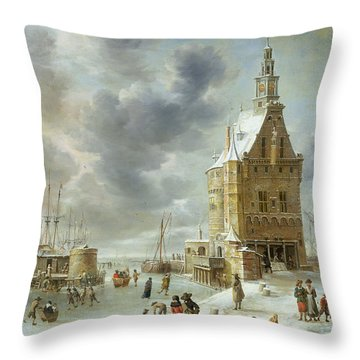 The City Gate Of Hoorn  Throw Pillow