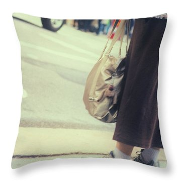 The City Moves At All Heights Throw Pillow by Karol Livote
