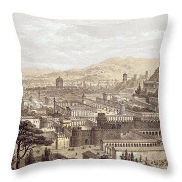 The City Of Ephesus From Mount Coressus Throw Pillow by Edward Falkener