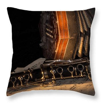 The Clarinet And The Concertina Throw Pillow by Ann Garrett