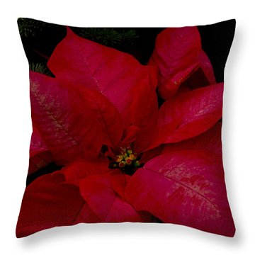The Classic Christmas Pointsettia Throw Pillow
