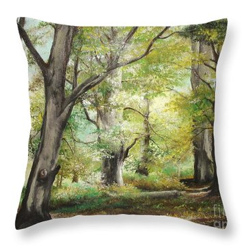 Throw Pillow featuring the painting The Clearing by Sorin Apostolescu