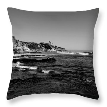 The Cliffs Of Pismo Beach Bw Throw Pillow by Judy Vincent