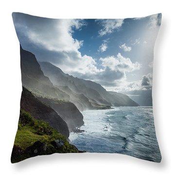 The Cliffs Of Kalalau Throw Pillow