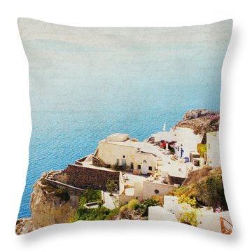 The Cliffside - Santorini Throw Pillow by Lisa Parrish