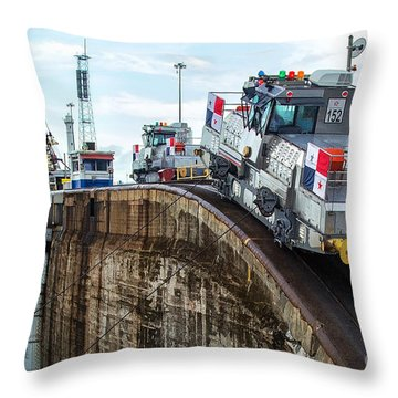 The Climbing Mule Of The Panama Canal Throw Pillow