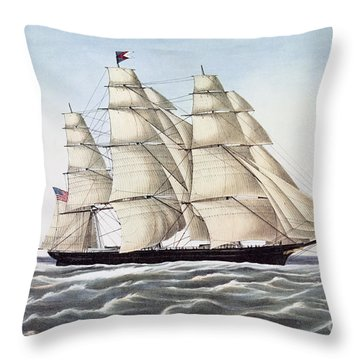 The Clipper Ship Flying Cloud Throw Pillow by Anonymous