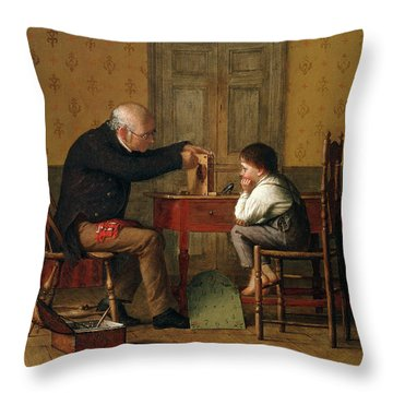 The Clock Doctor, 1871 Throw Pillow by Enoch Wood Perry