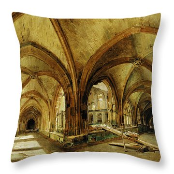 The Cloisters Of St. Wandrille, C.1825-30 Oil On Canvas Throw Pillow