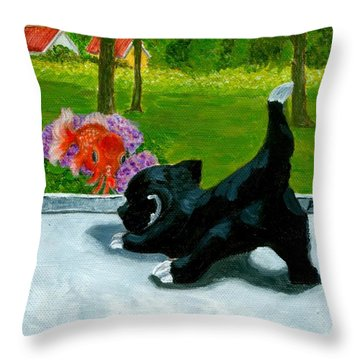 The Close Encounter Of A Cat And Fish Throw Pillow
