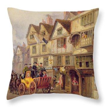 The Cock Tavern Throw Pillow by Albert Joseph Moore