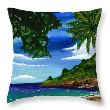 Throw Pillow featuring the painting The Coconut Tree by Laura Forde