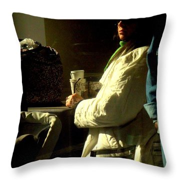 The Coffee Drinker Throw Pillow by Miriam Danar