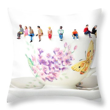 The Coffee Time Little People On Food Throw Pillow by Paul Ge