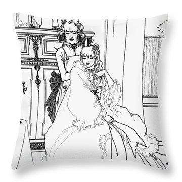 The Coiffing Throw Pillow by Aubrey Beardsley