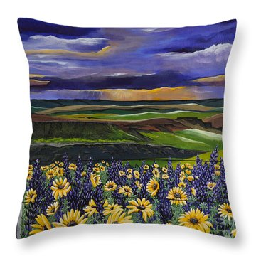 The Colors Of The Plateau Throw Pillow by Jennifer Lake