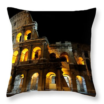The Colosseum At Night Throw Pillow by Jeremy Voisey