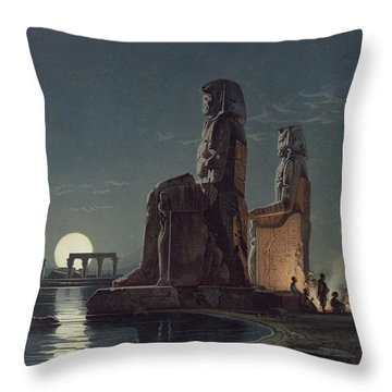 The Colossi Of Memnon, Thebes, One Throw Pillow