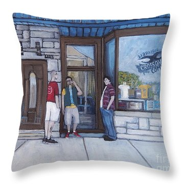 The Comic Book Shop Throw Pillow