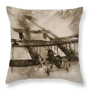 German Biplane From The First World War Throw Pillow