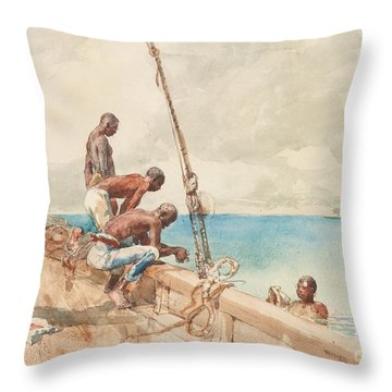 The Conch Divers Throw Pillow by Winslow Homer