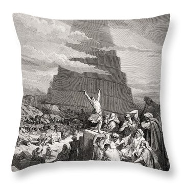 The Confusion Of Tongues Throw Pillow by Gustave Dore
