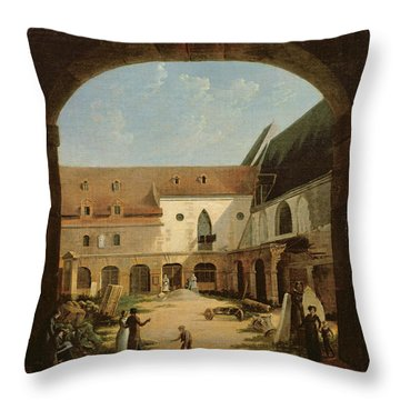 The Convent Courtyard Of Petits-augustins In Paris, C.1818 Oil On Canvas Throw Pillow