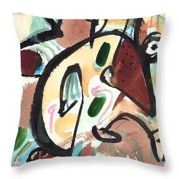 Throw Pillow featuring the painting The Conversation 2 by Stephen Lucas