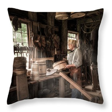 Throw Pillow featuring the photograph The Cooper - 19th Century Artisan In His Workshop  by Gary Heller