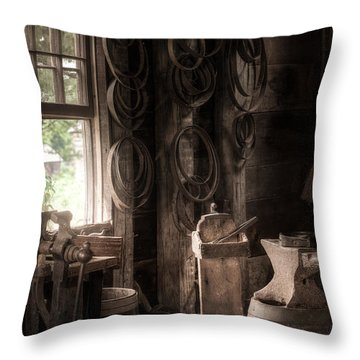 Throw Pillow featuring the photograph The Coopers Window - A Glimpse Into The Artisans Workshop by Gary Heller