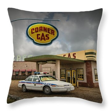 The Corner Gas Station From The Canadian Tv Sitcom Throw Pillow