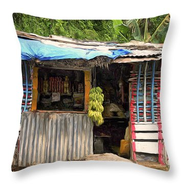 The Corner Market Throw Pillow by Dominic Piperata