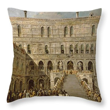 The Coronation Of The Doge Of Venice On The Scala Dei Giganti Of The Palazzo Ducale, 1766-70 Oil Throw Pillow