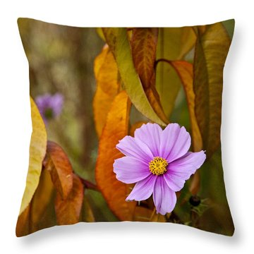 The Cosmos In The Peach Tree Throw Pillow by Theresa Tahara