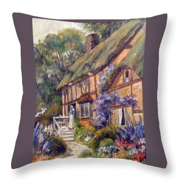The Cottage Throw Pillow by Donna Tucker