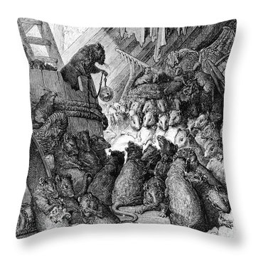 The Council Held By The Rats Throw Pillow by Gustave Dore