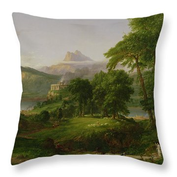 The Course Of Empire   The Arcadian Or Pastoral State Throw Pillow by Thomas Cole